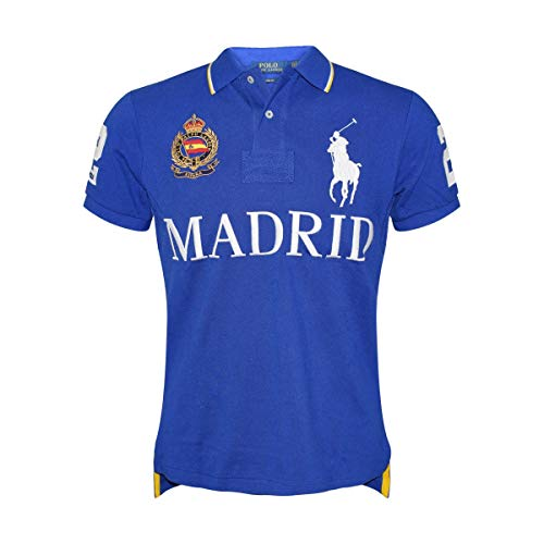 Polo Ralph Lauren Mens Big Pony City Custom Fit Mesh Polo Shirt (Blue/Madrid, Small)