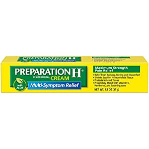 Preparation H (1.8 Ounce, 1 Tube per Box) Hemorrhoid Symptom Treatment Cream, Maximum Strength Pain Relief with Aloe, Tube