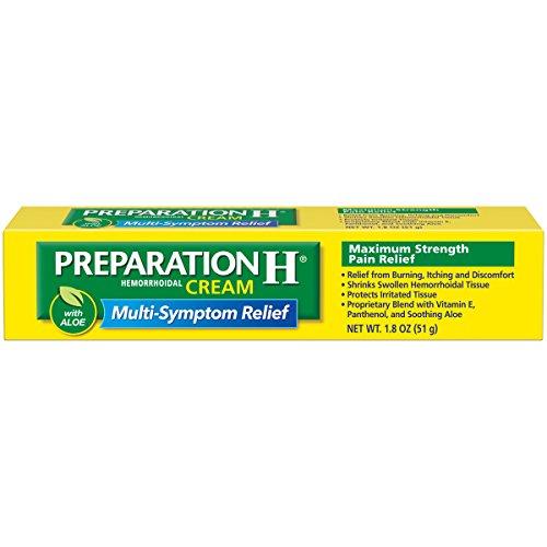 (Preparation H (1.8 Ounce, 1 Tube per Box) Hemorrhoid Symptom Treatment Cream, Maximum Strength Pain Relief with Aloe, Tube, (Pack of 2))