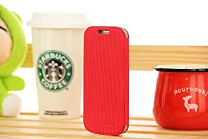 Free Shipping Colorful Leather Flip Cover for Samsung Galaxy S3 / i9300 C - Red