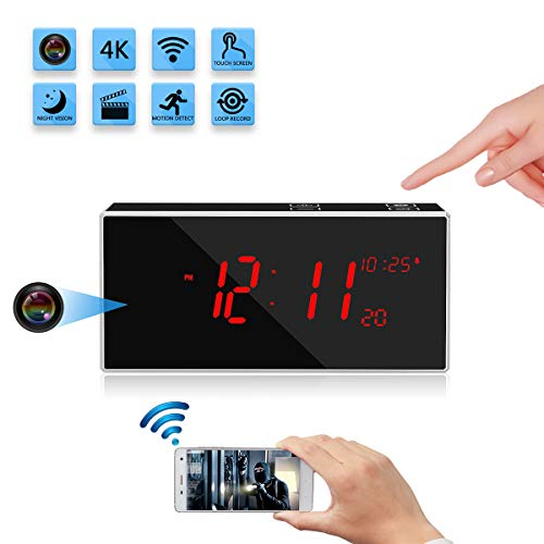 Wireless Hidden Spy Clock Camera with Stronger Night Vision YuanFan Mini Small 4K HD WiFi Smart Nanny Cam Motion Detection 160°Wide-Angle IP Remote Security Camera for Home Office Shop