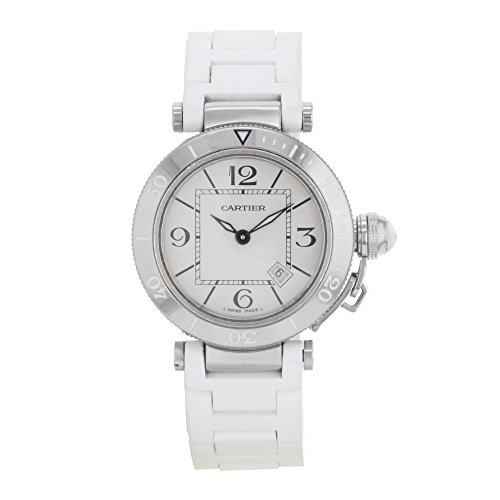 Cartier Pasha Seatimer 33mm Silver Dial Rubber Steel Quartz Ladies Watch W3140002 (Certified Pre-Owned)
