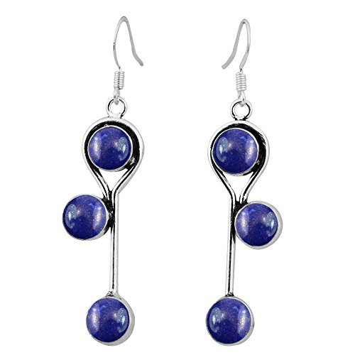 8.50ctw, Genuine Lapis & 925 Silver Plated Dangle Earrings Made By Sterling Silver Jewelry