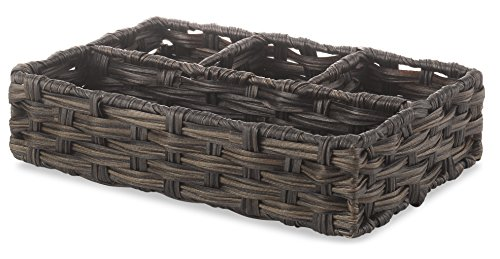 Whitmor Split Rattique 4 Section Woven Tray, Driftwood ()