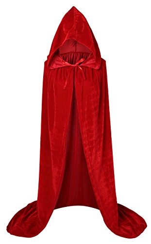 Red Hooded Cape Costume (VGLOOK Unisex Extra Long Hooded Velvet Halloween Costumes Cloak Cape 63inch)