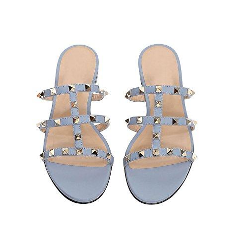 Con Vocosi Donna Pantofola Blue Casual Borchie Sandali Rockstud Piatte Dorati Rivetti Summer xzrqwx