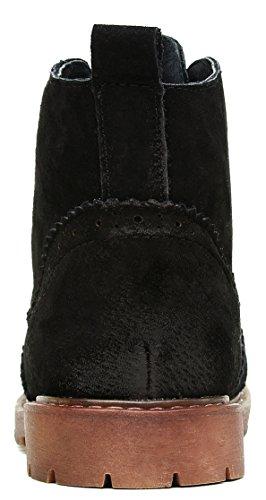 Louechy Femmes Brootin Nubuck Bottes En Cuir Casual Booties Chaussures Brogue Lace Up Noir