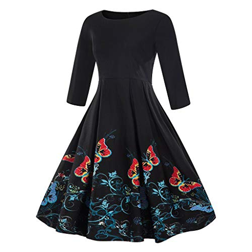 Sherostore ♡ Vintage Tea Dress 1950'S Floral Spring Garden Retro Boatneck Swing Prom Party Cocktail Dress for Women