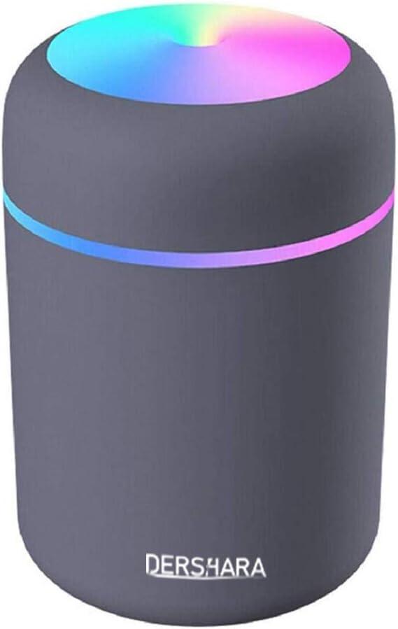 DERSHARA Humidificador Mini - Unidad de humidificación de Primera Calidad con Tanque de Agua de 300ml, Funcionamiento ultrasónico silencioso, Apagado automático y función de luz Nocturna (Negro)