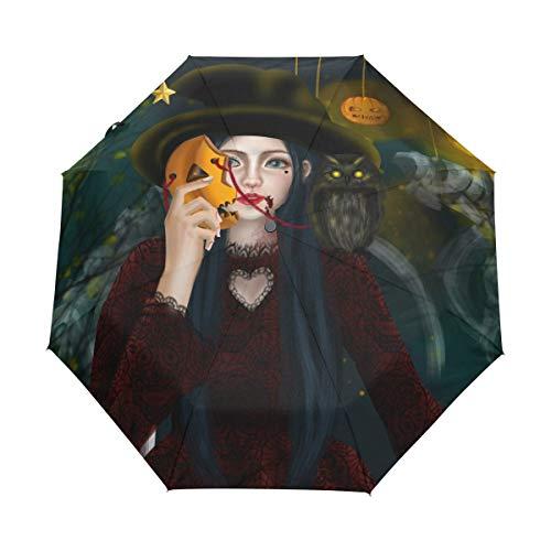 Mr.Lucien Halloween Theme Umbrella Travel Folding Automatic Witch Girl Wearing Pumpkin Mask Firefly Lantern Umbrella Strong Windproof Compact 8 Ribs Light Weight Auto Open Close 2021068 -