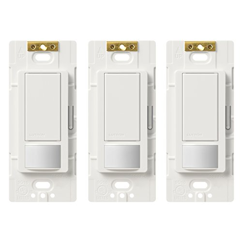 Lutron MS-OPS5M-WH-3 Maestro Sensor Switch Maestro 5A Single-Pole/Multi Location Motion Sensor Switch For Lights & Exhaust Fans (3 Pack)White Decora Motion Sensor Occupancy Switch