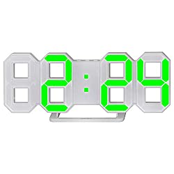 perfeo 3D Digital Alarm Clock, Wall Alarm Clock, Led Electronic Clock with Snooze Function, 12/24 Hour Display, Adjustable Brightness (White, Green)