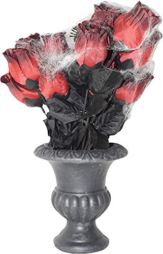 Artificial Rose Bouquet with Cobwebs in Vase Halloween Decoration, 13 Inch]()
