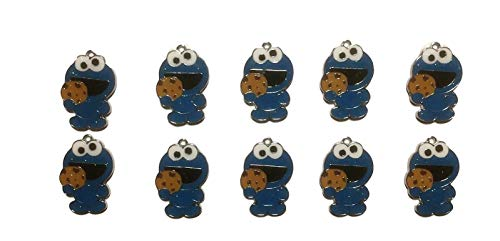 (New Horizons Production Cookie Monster Character Set of 10 DIY Charms Pendant)