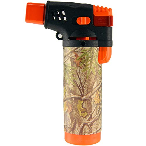 Turbo Blue XXL Jet Flame Refillable Torch Lighter with Powerful Windproof Flame Camo Edition - Orange