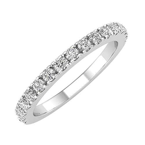 14K White Gold Diamond Semi-Eternity Wedding Band Ring (0.40 Carat) - IGI Certified (Ring Size 7)