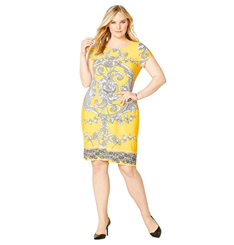 Yellow Scroll - Avenue Women's Large Scroll Sheath Dress, 18/20 Yellow