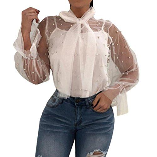 Qisc Womens Tops Womens Elegant Nail BeadClassic Work Tie Bow Neck Long Sleeve Chiffon Top Shirt Blouse Plus Size (L, White) (Neck Ruffle Jacket)
