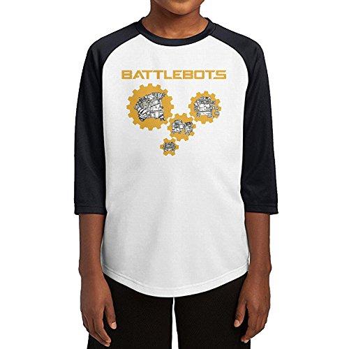 Hotboy19 Youth Boys Robots Battle Raglan Tee Baseball Shirt Black Size M (Cartoon Tombstone)