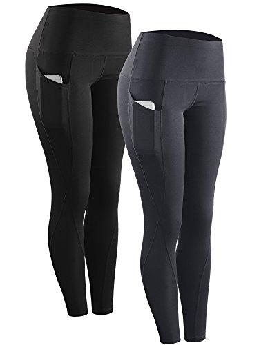 Neleus 2 Pack Tummy Control High Waist Running Workout Leggings