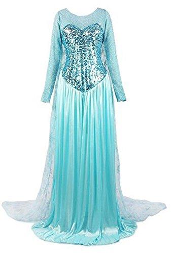 [hqclothingbox Woman's Elegent Princess Frozen Dress Costume] (Leg Lamp Dress Costume)