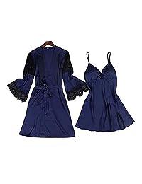 Chinashow Womens Satin Pajamas Set Sexy Ice Silk Suit Set Sleepwear/Nightwear Clothes, Navy Blue #B
