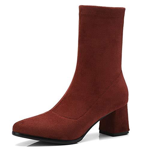 HAOLIEQUAN Frauen Stiefel Alle Spiel Spiel Spiel Slip On Winter Stiefel Square High Heel Schuhe Größe 34-42 969d89