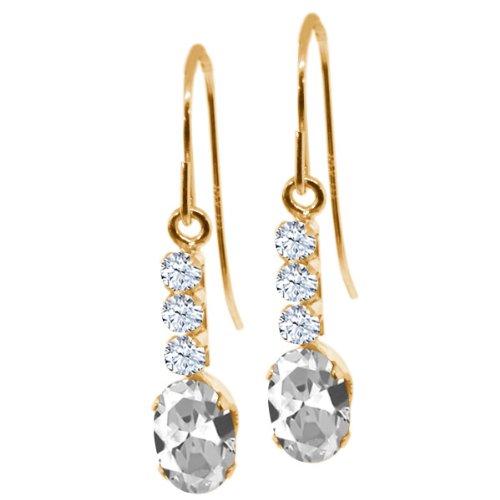 1.34 Ct Oval White Topaz 10K Yellow Gold Earrings