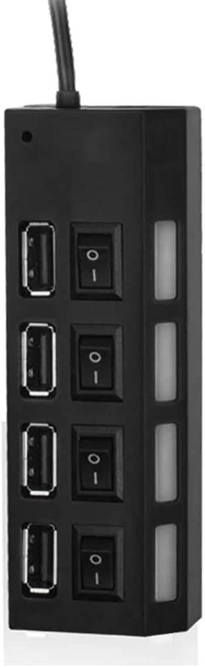 USB 2.0 Hub Adapter USB 2.0 Hub Splitter Socket for PC Computer Laptop High Speed USB Hub with Switches Plug and Play USB Hub for U-Disk MP3 Keyboard Camera Mouse USB Fan 4 Ports USB Hub Adapter