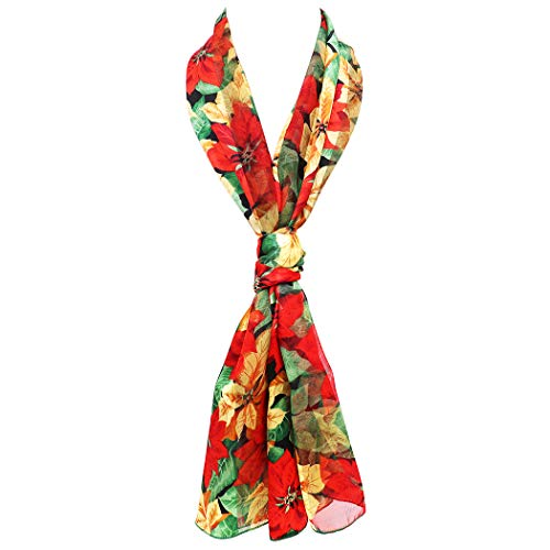 Women's Poinsettia Christmas  Scarf