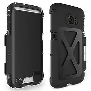 Alienwork Funda para Samsung Galaxy S7 edge Soporte protectora bumper case Prueba de golpes Acero inoxidable negro SGS7E03-01