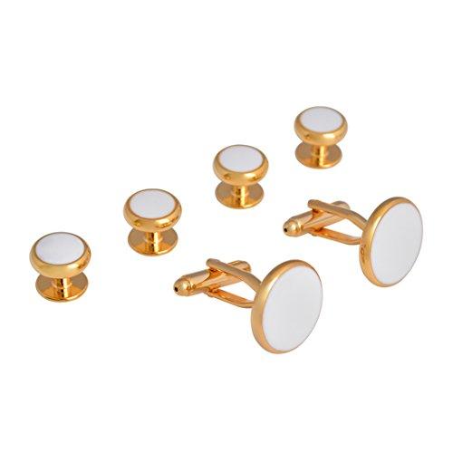 JAOPNZA Mens Cufflinks and Studs Set Tuxedo Shirts Groomsmen Groom Wedding Gift Cuff Links Business,Gold ()