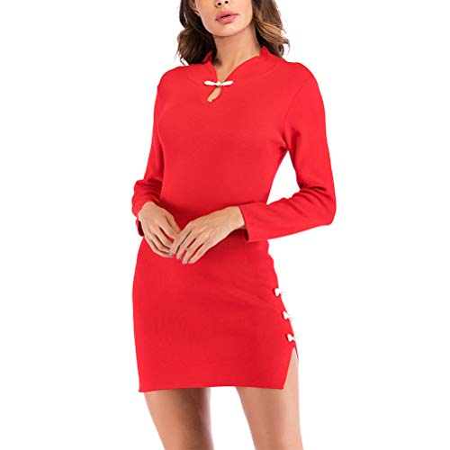 Shanenxn Women's Vintage Long Sleeve Stand Collar Solid Color Split Hip Skirt Cheongsam Knit Dress Casual (Color : Red, Size : XL) ()