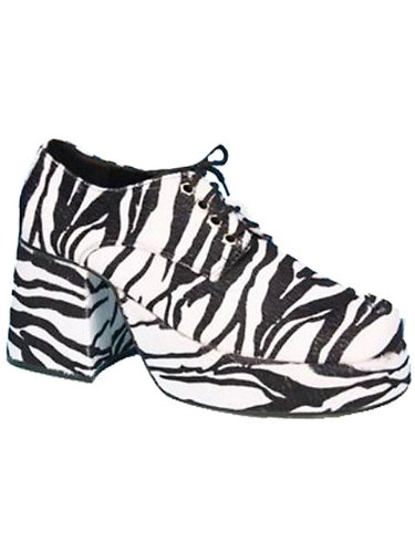 Pimp Adult Costume Shoes Zebra Print - Small -