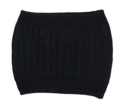 Ewandastore Women's Winter Warm Cashmere Soft Thin Elastic Waist Support Stomach Warmer Band Waist Protector Belt(Black)