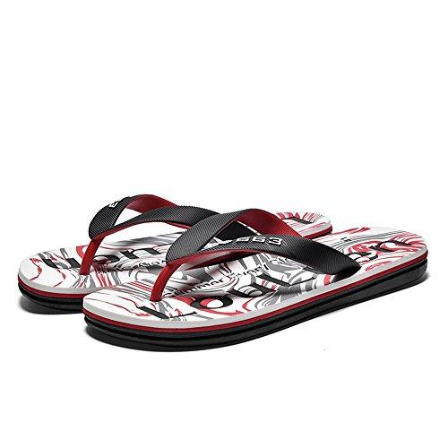 uomo Rosso sandali antiscivolo da con uomo morbido Infradito da spiaggia 2018 da stampati Casual con Scarpe fondo 8a1ZX