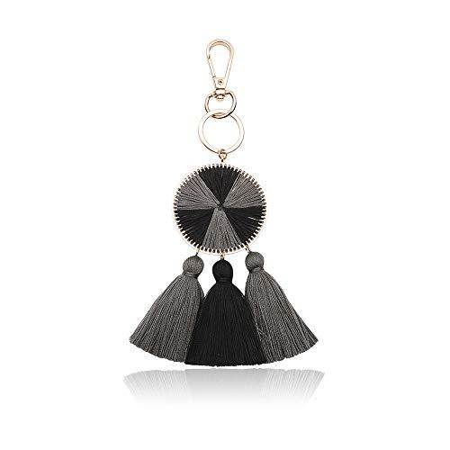 Handbag Charm Key - Tassel Pom Pom Key Chain Colorful Boho Charm Key Ring, Fashion Accessories for Women (N5)