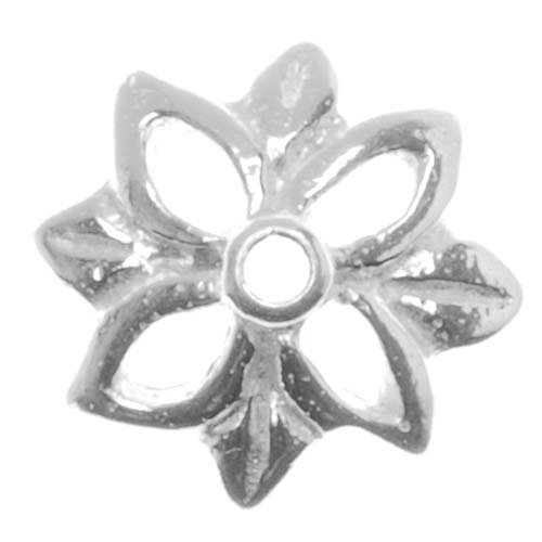 Bright Sterling Silver Star Leaf Bead Caps 10mm (4)