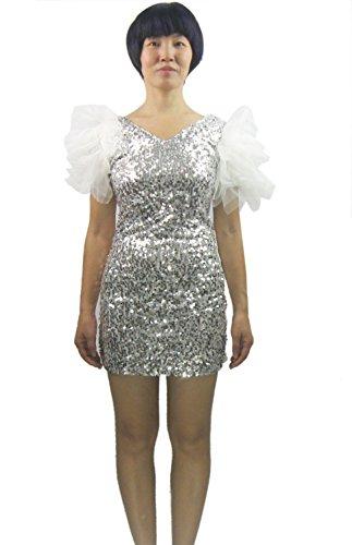 [Whitewed V Neck Short Sequin Silver Las Vegas Showgirl Fancy Dress Wear Costumes] (Vegas Showgirl Costumes)