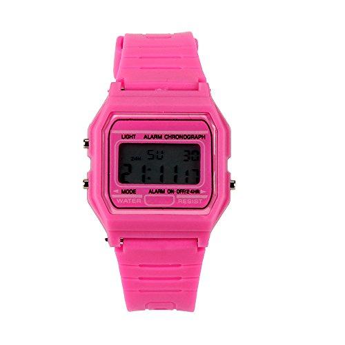Axiba Men's Silicone Rubber Strap Retro Vintage Digital Illuminator Collection Resin Strap Digital Watch (Pink)