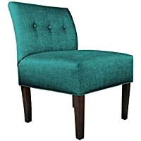 MJL Furniture Designs Samantha Collection Fabric Upholstered Button Tufted Living Room Accent Guest Chair, Lucky Series, Turquoise