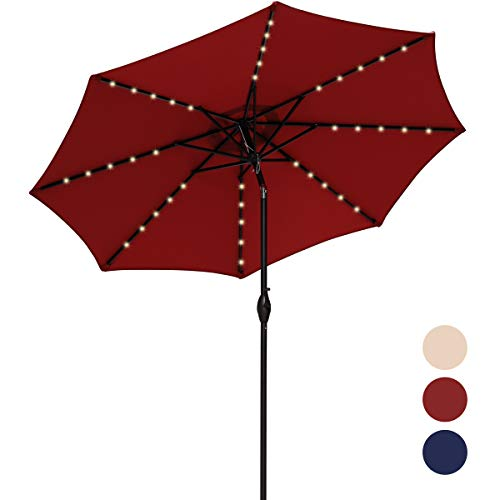 MEWAY 9Ft Patio Umbrella with Solar Lights Outdoor Table LED Lights Umbrella for Night, Beach, Camping, Swimming Pool, Picnic (9Ft, Rust Red)