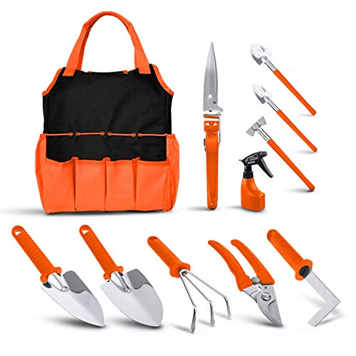 BNCHI Gardening Tool Set, 11 Pieces of Stainless Steel Garden Tools, with Portable Gardening Tool Bag, Anti-Rust…