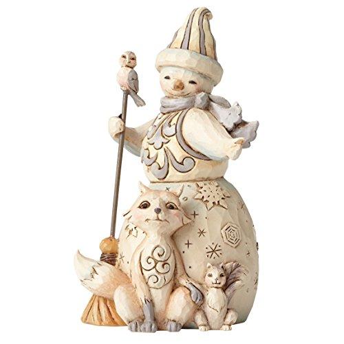 Enesco JS HWC Fig Wdlnd Snowman/Anima Figurine