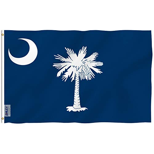 Anley [Fly Breeze 3x5 Foot South Carolina State Polyester Flag - Vivid Color and UV Fade Resistant - Canvas Header and Double Stitched - South Carolina SC Flags with Brass Grommets 3 X 5 Ft