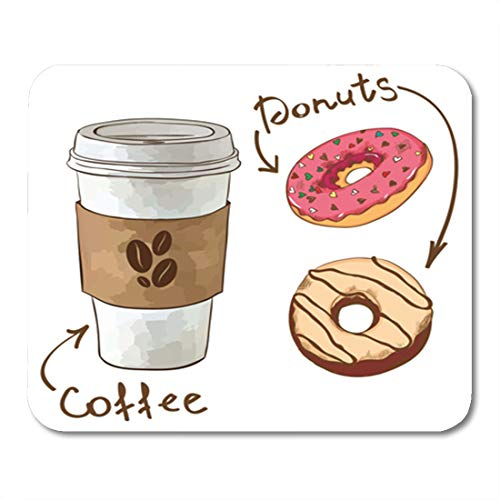 Semtomn Gaming Mouse Pad Pink American Cartoon Coffee and Donuts Bakery Box Break 9.5