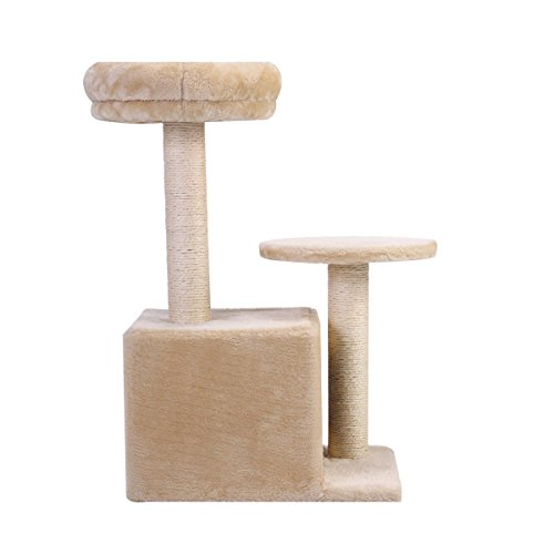 outlet Deluxe Cat Tree Condo Play Toy Scratch Post Kitten Pet House Furniture Beige