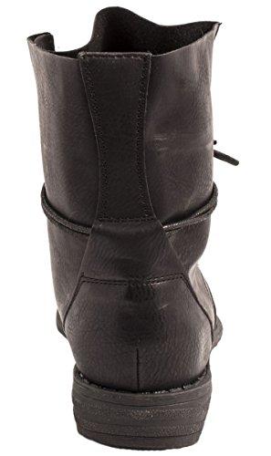 Ayan Elara schwarz Aspecto Botines 2 Biker Piel Negro Boots Chunkyr Trendy De Mujer rrqAgwzC