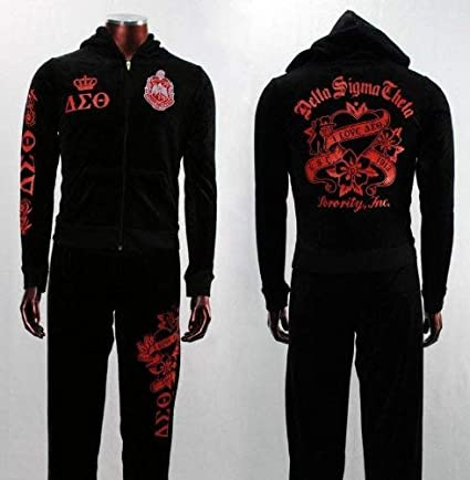 45b827fe Amazon.com: Womens Black Velour Delta Sigma Theta Hooded Track Suit ...