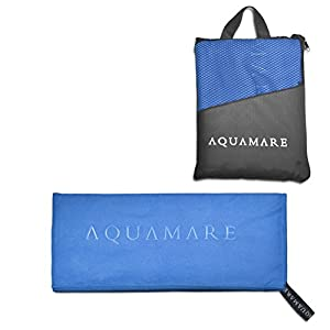 Microfiber Towel for Beach, Hair, Travel, Gym, Sports - Lightweight, Absorbent Quick Dry Towels - Perfect for Yoga, Pool, Golf, Pilates, Camping & Shower - Includes Carrying Bag (Blue)